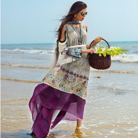 Ayesha Ibrahim Embroidered Lawn Un-Stitched Suit - Crepe - test-store-for-chase-value