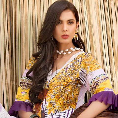 Ayesha Ibrahim Embroidered Lawn Un-Stitched Suit - Lavender - test-store-for-chase-value
