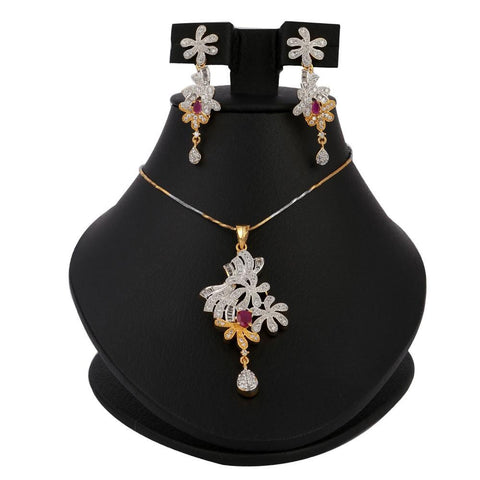 American Diamond Jewellery Set - Maroon - test-store-for-chase-value