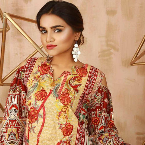 Libas Embroidered 3 Piece Un-Stitched Suit - 4 B - test-store-for-chase-value