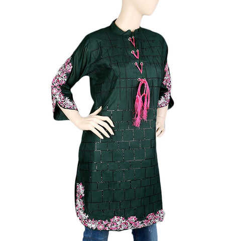 Women's Embroidered Kurti - Green - Green - test-store-for-chase-value