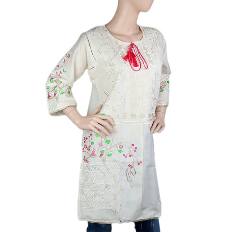 Women's Embroidered Kurti - White - White - test-store-for-chase-value