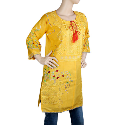 Women's Embroidered Kurti - Yellow - Yellow - test-store-for-chase-value