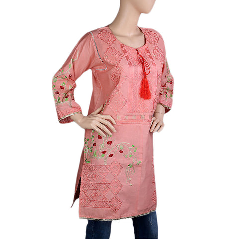 Women's Embroidered Kurti - T-Pink - Tea Pink - test-store-for-chase-value