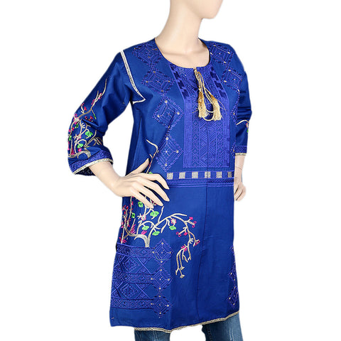 Women's Embroidered Kurti - Blue - Blue - test-store-for-chase-value