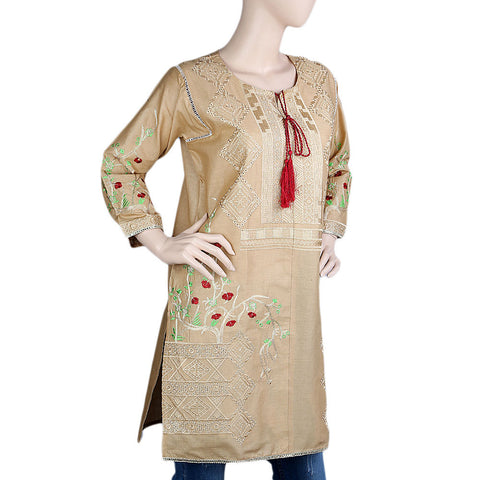 Women's Embroidered Kurti - Beige - test-store-for-chase-value