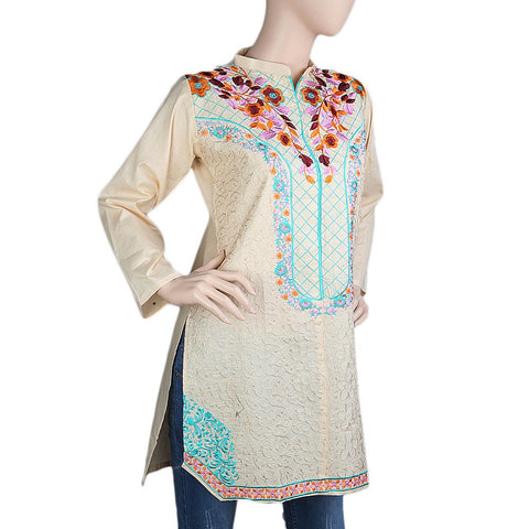 Women's Embroidered Kurti - Fawn - Fawn - test-store-for-chase-value