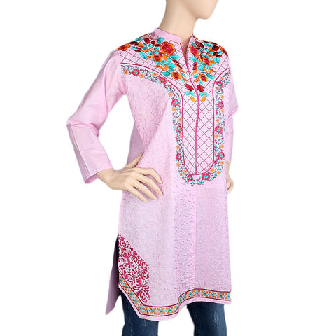 Women's Embroidered Kurti - Pink - Pink - test-store-for-chase-value