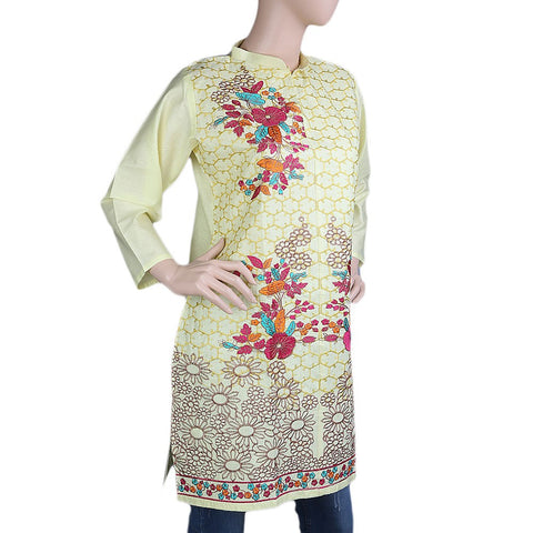 Women's Embroidered Kurti - Light Yellow - test-store-for-chase-value