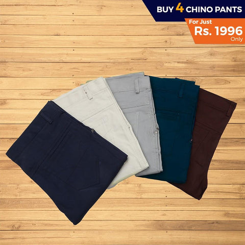 Men's Cotton Chino Pants Pack Of 4 - test-store-for-chase-value