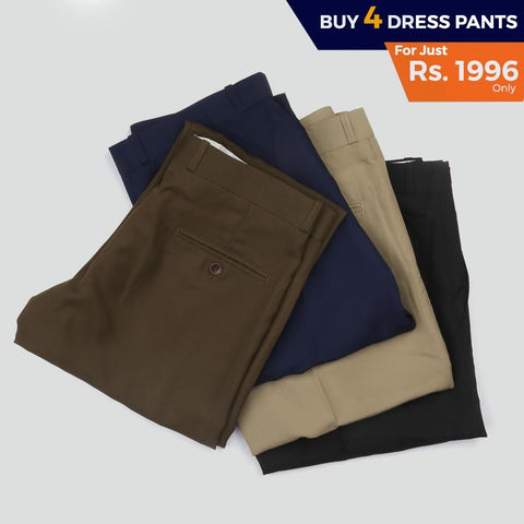 Men's Formal Dress Pant Pack Of 4 - test-store-for-chase-value