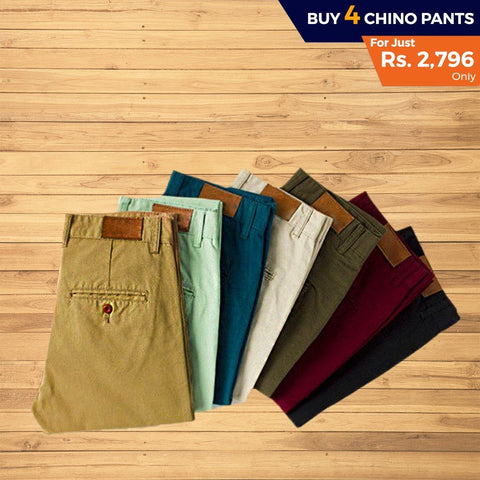 Men's Cotton Chino Pant Pack Of 4 - test-store-for-chase-value
