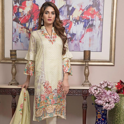 Ittehad Crystal Lawn 3 piece Un-Stitched Suit - 3507 A - test-store-for-chase-value