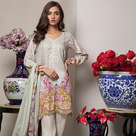 Ittehad Crystal Lawn 3 piece Un-Stitched Suit - 3507 B - test-store-for-chase-value