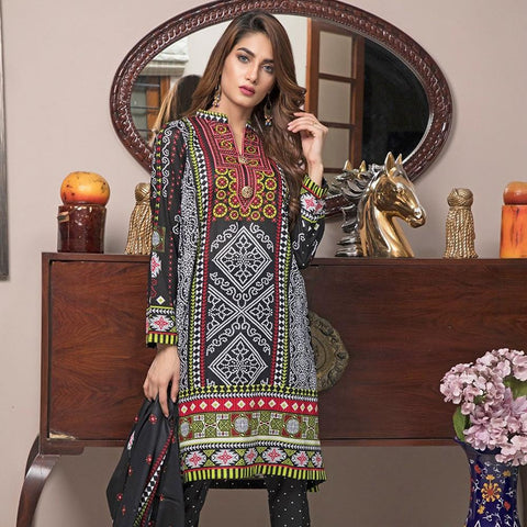 Ittehad Crystal Lawn 3 piece Un-Stitched Suit - 3513 A - test-store-for-chase-value