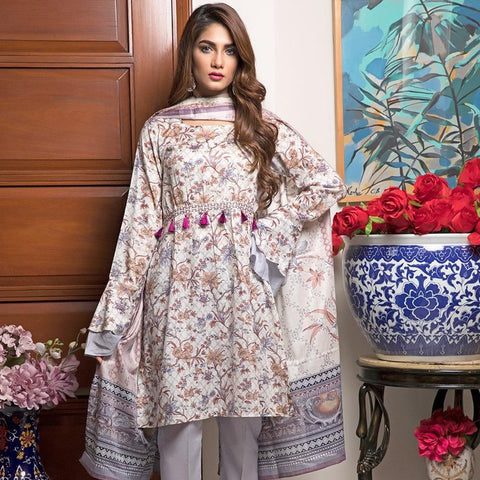 Ittehad Crystal Lawn 3 piece Un-Stitched Suit - 3518 B - test-store-for-chase-value
