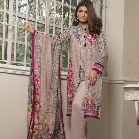 Ittehad Crystal Lawn 3 piece Un-Stitched Suit - 3522 A - test-store-for-chase-value