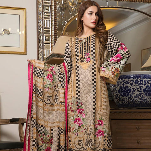 Ittehad Crystal Lawn 3 piece Un-Stitched Suit - 3524 A - test-store-for-chase-value