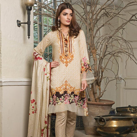 Ittehad Crystal Lawn 3 piece Un-Stitched Suit - 3531 A - test-store-for-chase-value