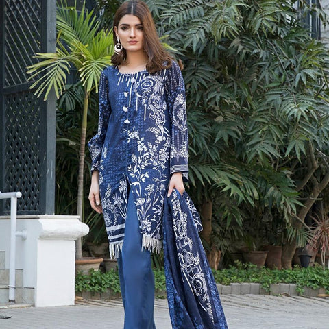 Ittehad Crystal Lawn 3 piece Un-Stitched Suit - 3525 B - test-store-for-chase-value