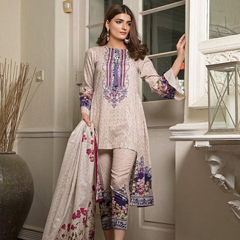 Ittehad Crystal Lawn 3 piece Un-Stitched Suit - 3531 B - test-store-for-chase-value