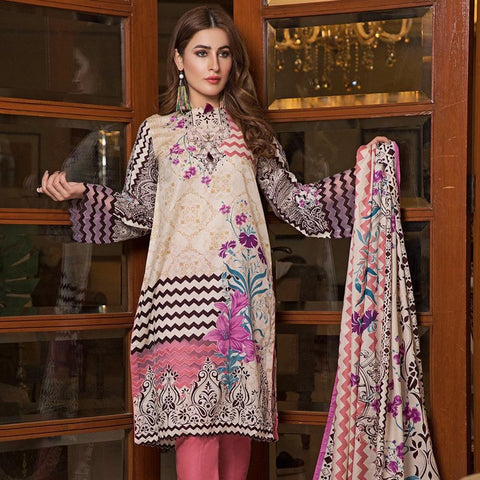 Ittehad Crystal Lawn 3 piece Un-Stitched Suit - 3535 A - test-store-for-chase-value