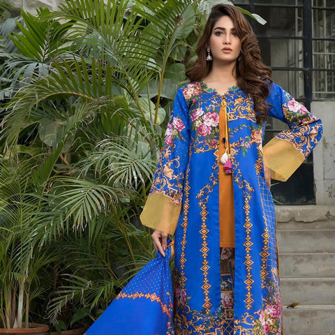 Ittehad Crystal Lawn 3 piece Un-Stitched Suit - 5610 A - test-store-for-chase-value