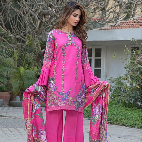 Ittehad Crystal Lawn 3 piece Un-Stitched Suit - 5610 B - test-store-for-chase-value