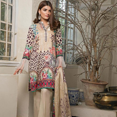 Ittehad Crystal Lawn 3 piece Un-Stitched Suit - 5613 A - test-store-for-chase-value