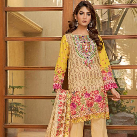 Ittehad Crystal Lawn 3 piece Un-Stitched Suit - 5616 A - test-store-for-chase-value