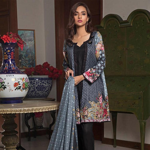 Ittehad Crystal Lawn 3 piece Un-Stitched Suit - 5619 A - test-store-for-chase-value
