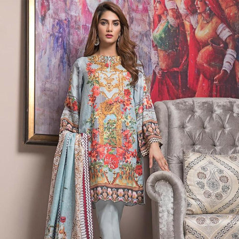 Ittehad Crystal Lawn 3 piece Un-Stitched Suit - 5620 A - test-store-for-chase-value