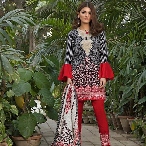 Ittehad Crystal Lawn 3 piece Un-Stitched Suit - 5625 A - test-store-for-chase-value