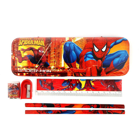 Spider Man Stationery Set 5 Pcs - Red - test-store-for-chase-value