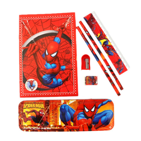 Spider Man Stationery Set 6 Pcs - Red - test-store-for-chase-value