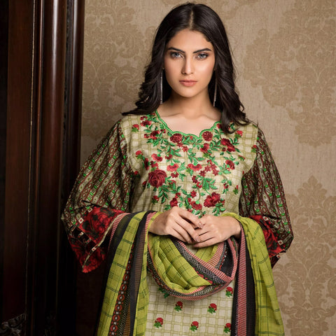 Sahil Emroidered Lawn 3 Piece Un-Stitched Suit Vol-3 - 2 A - test-store-for-chase-value