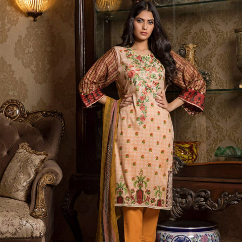 Sahil Emroidered Lawn 3 Piece Un-Stitched Suit Vol-3 - 2 B - test-store-for-chase-value