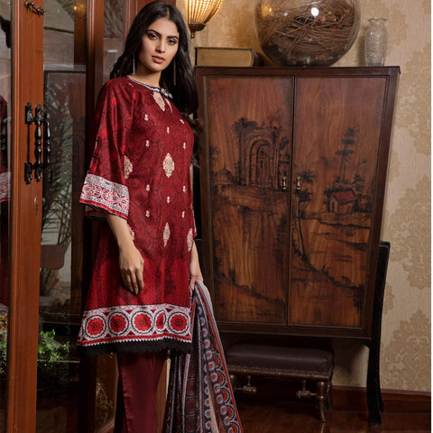 Sahil Emroidered Lawn 3 Piece Un-Stitched Suit Vol-3 - 4 A - test-store-for-chase-value