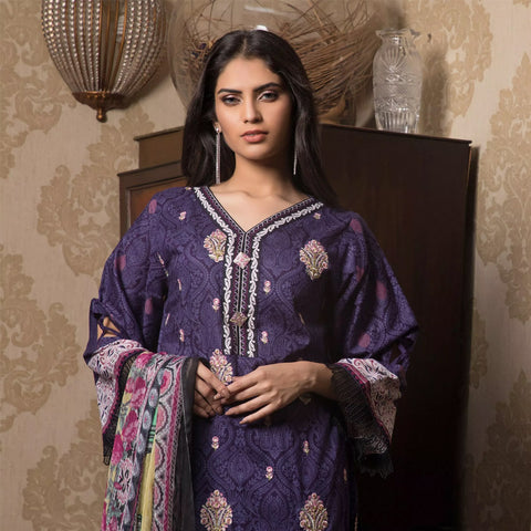 Sahil Emroidered Lawn 3 Piece Un-Stitched Suit Vol-3 - 4 B - test-store-for-chase-value