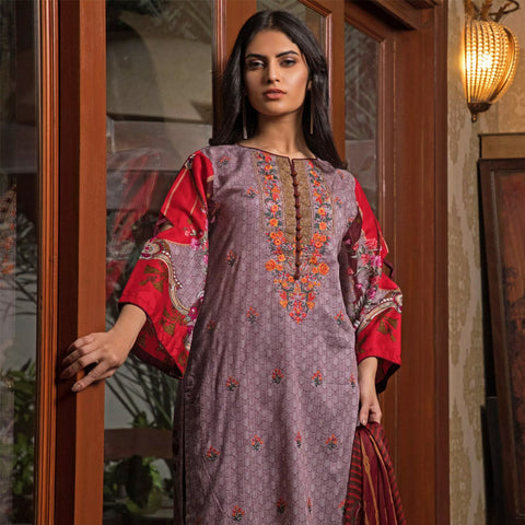 Sahil Emroidered Lawn 3 Piece Un-Stitched Suit Vol-3 - 5 A - test-store-for-chase-value