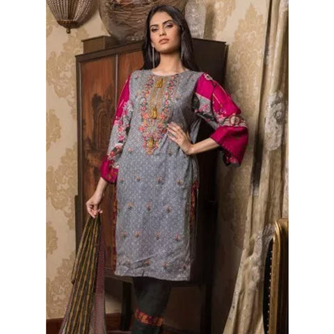 Sahil Emroidered Lawn 3 Piece Un-Stitched Suit Vol-3 - 5 B - test-store-for-chase-value