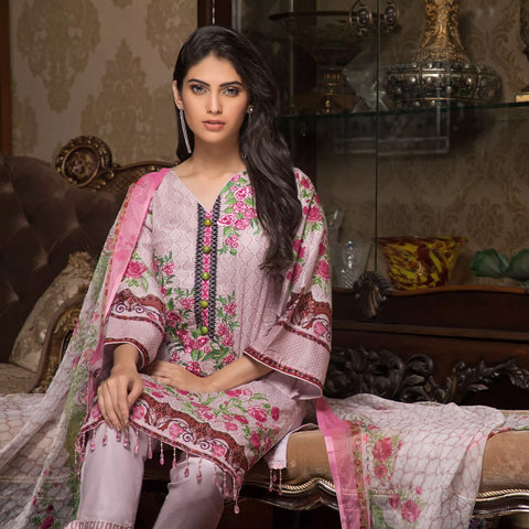 Sahil Emroidered Lawn 3 Piece Un-Stitched Suit Vol-3 - 6 A - test-store-for-chase-value
