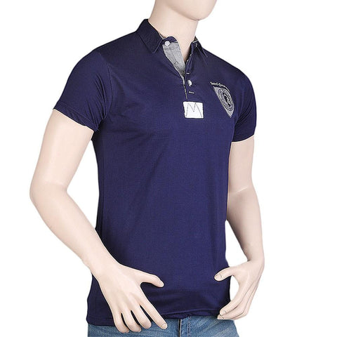 Men's Fancy Polo T-Shirt - Navy Blue - Navy/Blue - test-store-for-chase-value