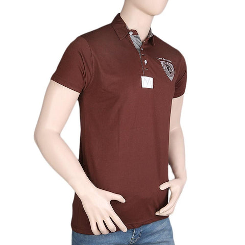 Men's Fancy Polo T-Shirt - Brown - test-store-for-chase-value
