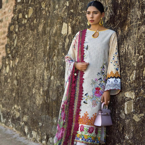 Maheen Karim Luxury Embroidered Summer Lawn Un-Stitched Suit - Coffee & Cream - test-store-for-chase-value