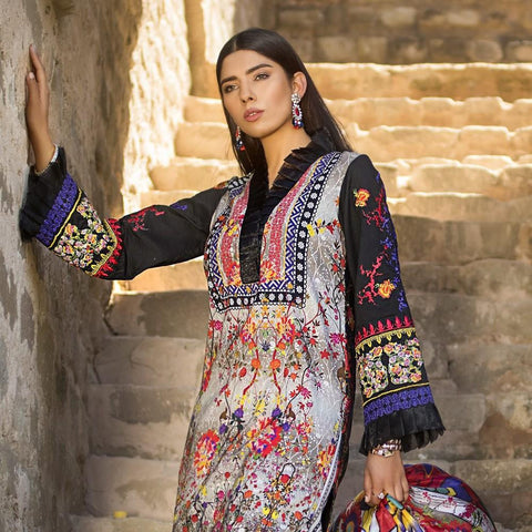 Maheen Karim Luxury Embroidered Summer Lawn Un-Stitched Suit - Dusky Mist - test-store-for-chase-value