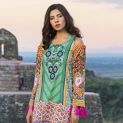 Maheen Karim Luxury Embroidered Summer Lawn Un-Stitched Suit - Fuschia Floret - test-store-for-chase-value