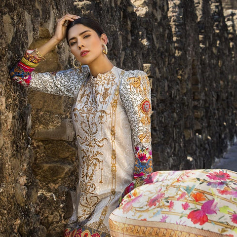 Maheen Karim Luxury Embroidered Summer Lawn Un-Stitched Suit - Gilded Passion - test-store-for-chase-value