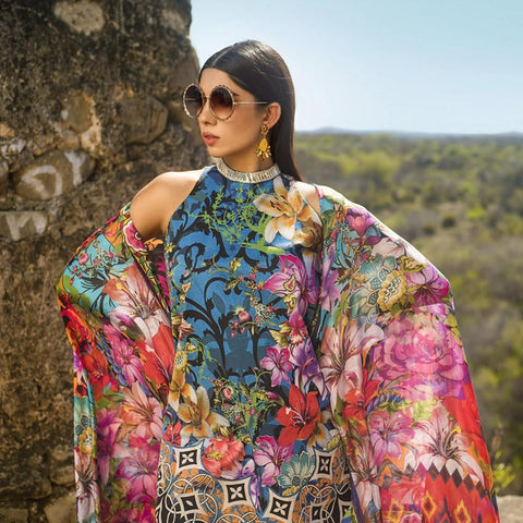 Maheen Karim Luxury Embroidered Summer Lawn Un-Stitched Suit - Midnight Paradise - test-store-for-chase-value