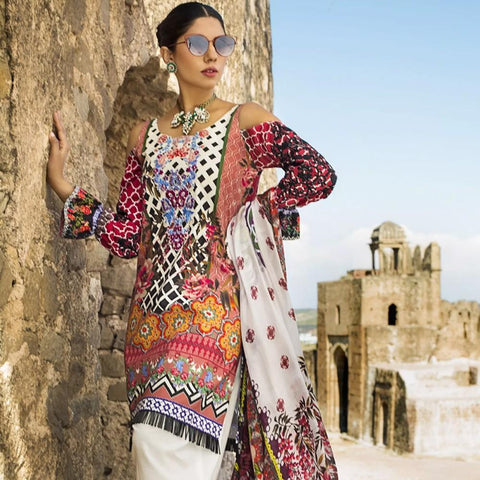 Maheen Karim Luxury Embroidered Summer Lawn Un-Stitched Suit - Mon-Cheri - test-store-for-chase-value